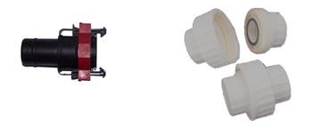 Left: Snap-on Fittings Right: Barrel Union, Murray Hallam Aquaponics.