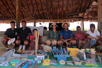 The Proto Village team pictured here with the newly arrived tools.Darryl, (second from left) Kalyan (fifth from left) A comprehensive list of tools with an assortment of screws nails and the like.